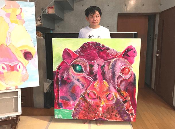 キャンバス画:怒っているカバ