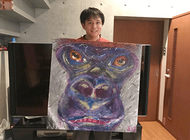 キャンバス画:にらんでいるゴリラ