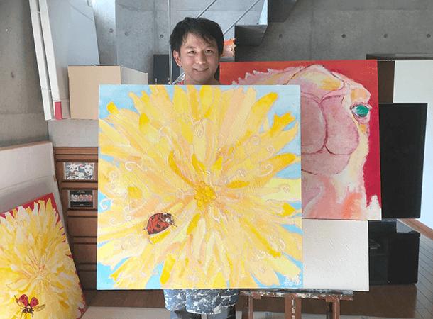 キャンバス画:春の空とタンポポとテントウムシ・夕焼けとタンポポとテントウムシ