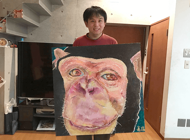 キャンバス画:友だちを待っているチンパンジー