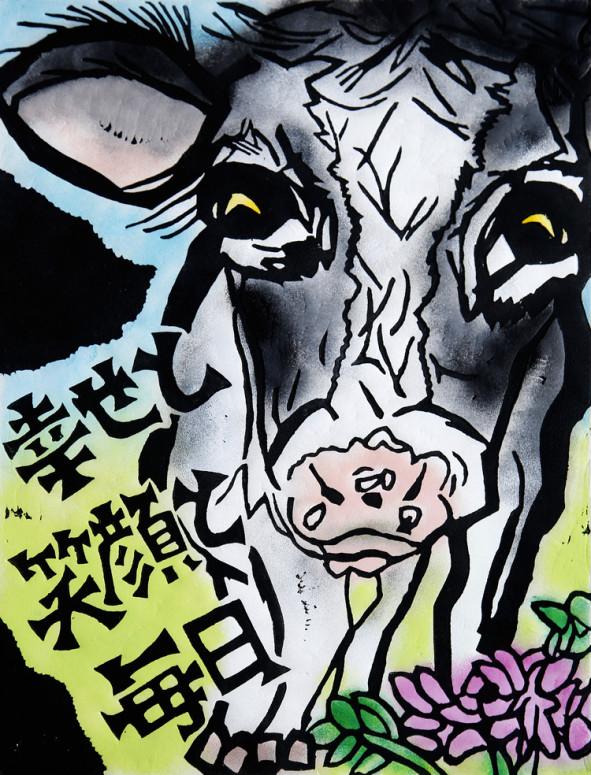 春の牧場の牛