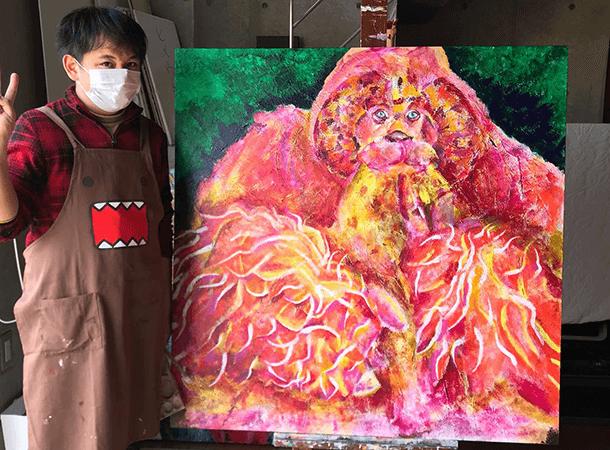 「スマトラオランウータン」を描いています。
